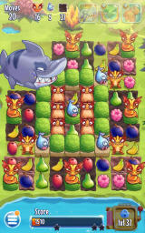 Fruit Nibblers Android The shark booster clears three rows in one go.