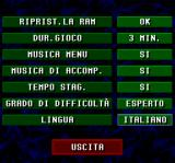 Championship Soccer '94 SNES Options.