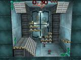 Blast Chamber DOS The player runs to pick up an item.