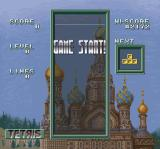 Super Tetris 3 SNES  A game of tetris with all 7 pieces shown begins.