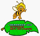 Maya the Bee & Her Friends Game Boy Color French menu.
