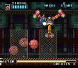 Kaizō Chōjin Shubibinman Zero SNES You need to jump on the balloons to hit this boss in the face