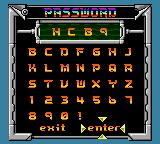 Saban's Power Rangers: Time Force Game Boy Color Password system.
