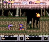 The Legend of the Mystical Ninja SNES 2-player: funny move, one ninja on top the other