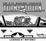 Turn and Burn: The F-14 Dogfight Simulator Game Boy Title screen (US).