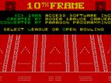 10th Frame ZX Spectrum Title screen and select game options