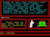 The Little Wandering Guru ZX Spectrum The left pointing arrow shows there is only one exit from this location<br>All player commands are entered on the bottom line<br>All responses to player commands are shown in the lower left window