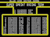Super Sprint ZX Spectrum High scores table