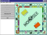 Monopoly Windows choosing number of players, names, and a metal-liquid piece to play with