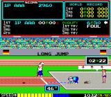 Track & Field Arcade Long jump: measuring the distance jumped.