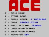ACE: Air Combat Emulator ZX Spectrum Main menu