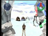 Star Wars: Demolition Dreamcast Boba Fett cruising underneath the AT-AT in the Hoth arena
