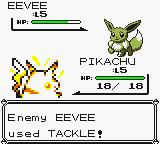 Pokémon Yellow Version: Special Pikachu Edition Game Boy Fighting  (on a GBC)