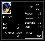 Defenders of Oasis Game Gear Prince's stats