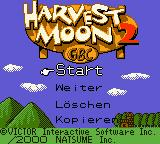 Harvest Moon 2 GBC Game Boy Color Title screen (German).