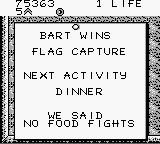 "Bart Simpson's Escape from Camp Deadly Game Boy ""We said no food fights""."