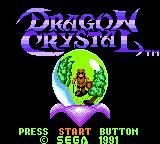 Dragon Crystal Game Gear Title screen