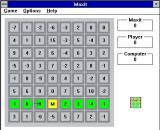 Maxit Windows 3.x The start of a game. <br>The game selects the first cell and marks it with an 'M', the player can now select any cell in the highlighted row