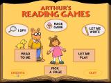 Arthur's Reading Games Windows The main menu, all options are explained by D.W. <br>If left alone for long enough the game plays a tune and D.W. starts dancing
