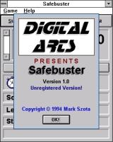 Safebuster Windows 3.x The start of a game<br><br>Shareware version