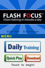 Flash Focus: Vision Training in Minutes a Day Nintendo DS Title & Menu Screen