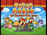 Paper Mario: The Thousand-Year Door GameCube The title screen.