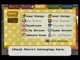 Paper Mario: The Thousand-Year Door GameCube The primary inventory screen.