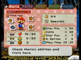 Paper Mario: The Thousand-Year Door GameCube Mario's status screen.