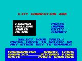 City Connection ZX Spectrum Selecting the trail of the game.