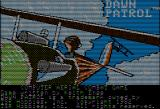 Dawn Patrol Apple II The title screen features some minor animation. The tailing fighter shoots and opens a hole in the wing of the aircraft in the foreground.