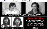 Sea Strike Apple IIgs About / Credits