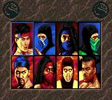 Mortal Kombat II Game Gear Character Select Screen