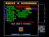 Rocks 'n' Diamonds DOS Title and menu screen