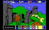 Electric Crayon Deluxe: Teenage Mutant Ninja Turtles: World Tour DOS The turtles see Stonehenge. (EGA)