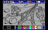 Electric Crayon Deluxe: Teenage Mutant Ninja Turtles: World Tour DOS The turtles' attempt at capturing the unpainted Eiffel Tower. (EGA)
