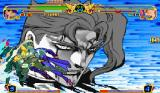 JoJo's Venture Arcade Defeating enemies with a super move shows a closeup of their bloodied face.