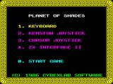 Planet of Shades ZX Spectrum Title screen