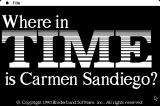 Where in Time Is Carmen Sandiego? Macintosh Title screen. (Black and White)