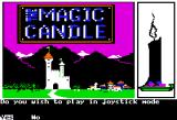 "The Magic Candle: Volume 1 Apple II Title screen.  (Is it a beautiful sunset, or is ""Magic Candle"" a euphemism for nuclear war?)"