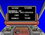 Bomber Raid SEGA Master System End-of-level statistics