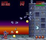 Super Turrican 2 SNES The first boss - here the new and improved Rebound comes in handy.