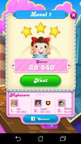 Candy Crush Soda Saga Android End-of-level summary