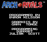 Arch Rivals Game Gear Title screen with credits