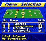 FIFA International Soccer Game Gear Player selection
