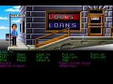 Zak McKracken and the Alien Mindbenders Macintosh In front of Lou's Loans (GOG release, FM Towns version)