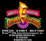 Mighty Morphin Power Rangers Game Gear Title screen