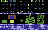 Stuart Smith's Adventure Construction Set Commodore 64 Editing graphics for things in the mystery set.