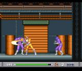 Mighty Morphin Power Rangers SNES Fighting two violet guys with the blade, dressed in a robotic suit