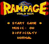 Rampage World Tour Game Boy Color Title screen / Main menu