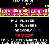 Ms. Pac-Man Game Gear Title screen